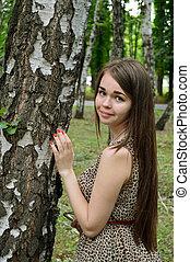 girl near the birch