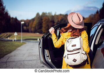 girl near the car