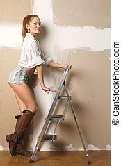Girl near the ladder.