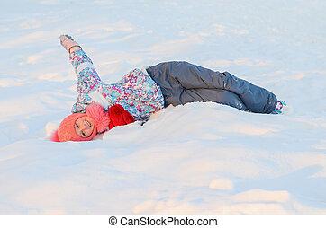 girl, neige, patineur