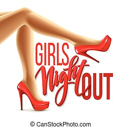 Ladies night out invitations card design with shoes eps 8