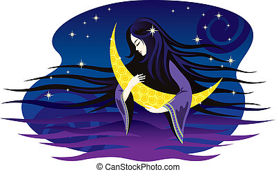 Girl-night sings a lullaby for the moon. Vector illustration.