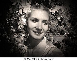 girl, noir, portrait, &, blanc