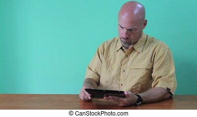 girl, numérique, sur, tablette, prend