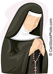 Girl Nun Rosary - Illustration of a Nun Clutching a Rosary...