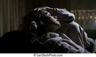 girl, obscurité, séance