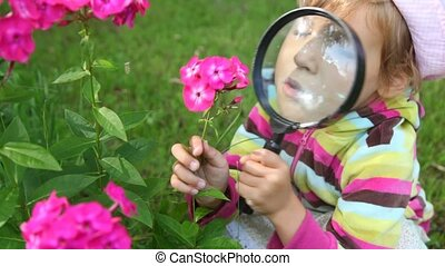 girl observe pink flowers through magnifying glass in summer