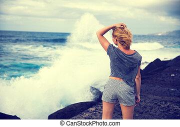 girl, océan
