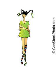 girl of teenager - Silhouette girl of teenager