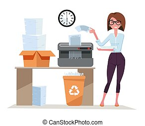 Girl office worker works with Shredder, terminates a pack of documents. Compact shredder stands on the table with a box of stacked sheets of paper. Flat cartoon vector illustration on white background