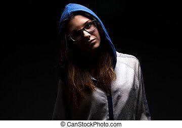 girl, ombre, adolescent, capuchon