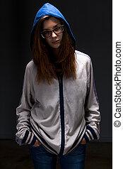 girl, ombre, adolescent