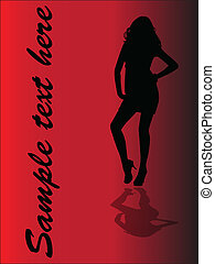 girl, -, ombre, vecteur