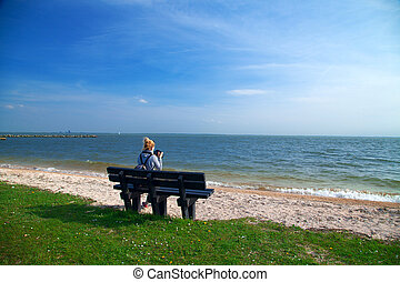 Girl on a bench