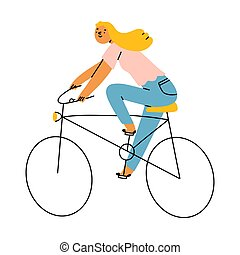 Girl on a bicycle, vector illustration