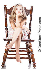 girl on a chair isolated
