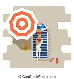 Girl on a chaise-longue under sun umbrella. Sunbathing woman summer illustration.