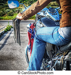 girl on a classic motorcycle in hdr