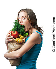 girl on a diet to eat vegetables