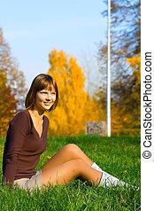 girl on a green grass 3