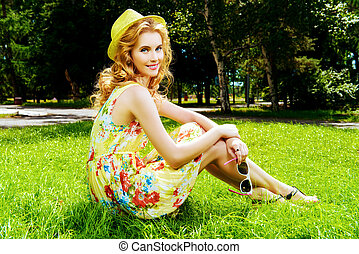 girl on a green lawn