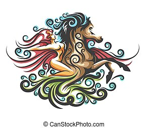 Girl on a Horse Ornate Emblem