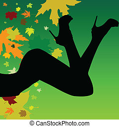 girl on a leaf background vector silhouette