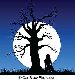 girl on a moonlight art vector illustration