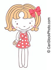 Girl on a pink dress cartoon isolated background.