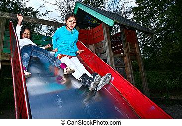 Girl on a playfield in Denmark