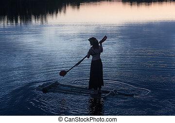 raft in the night lake