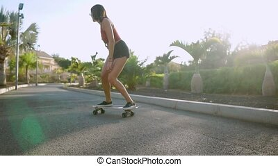 Girl on a skateboard in the Park