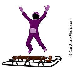 Girl On A Sled Silhouette - Girl on a sled silhouette on a...