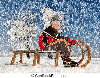 girl on a sleigh