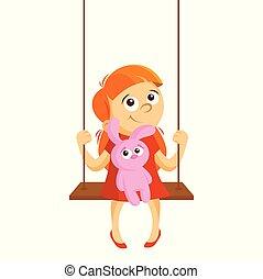Girl on a swing vector illustration