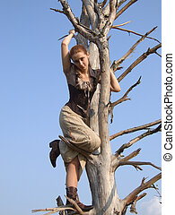Girl on a tree