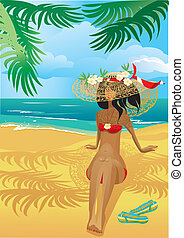 Girl on a tropical beach with straw