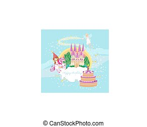 Girl on a unicorn - Birthday card