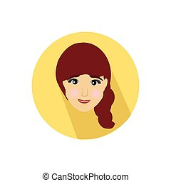 girl. on a white background in a bright circle