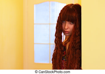 Girl on a yellow background