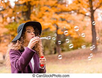 Girl on autumn walk