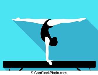 girl on balance beam, doing a handstand