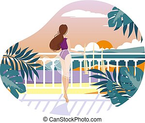 Girl on balcony waiting and looking at sea. Vector...