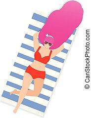 Girl on Beach Sunbathe Topless Isolated Clip Art