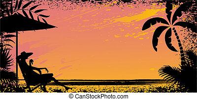 girl on beach. Vector silhouette banner illustration