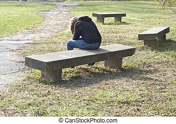 Girl on Bench, Bowed