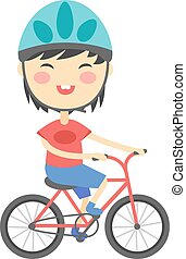 Girl on bike vector illustration.
