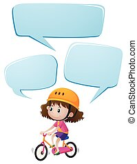 Girl on bike with three speech bubbles