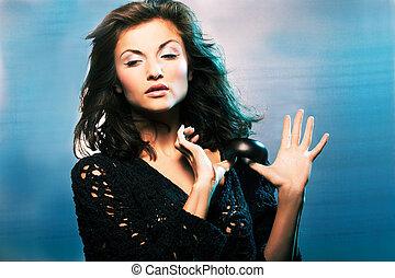 girl on blue background