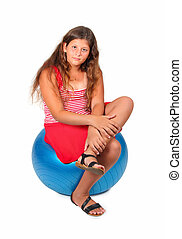 girl on blue ball